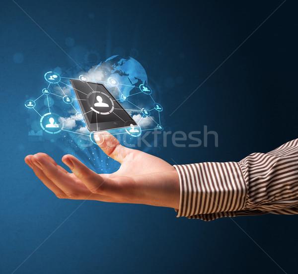 Nube tecnologia mano imprenditore Palm Foto d'archivio © ra2studio