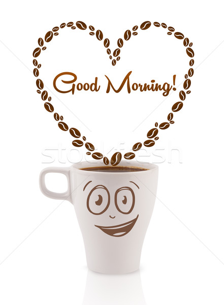 Kaffeebecher Kaffeebohnen Herz Guten Morgen