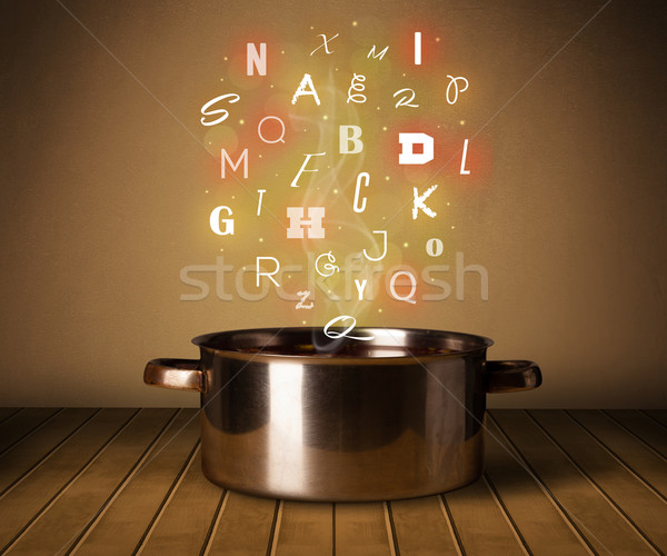 Glühend Briefe heraus Kochtopf farbenreich Metall Stock foto © ra2studio