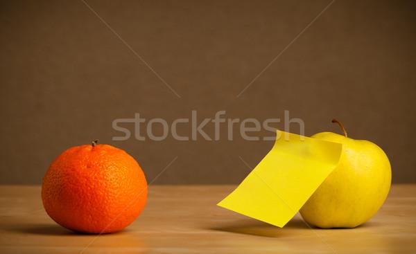 ストックフォト: 空っぽ · 注記 · フルーツ · 付箋 · 背景 · 果物
