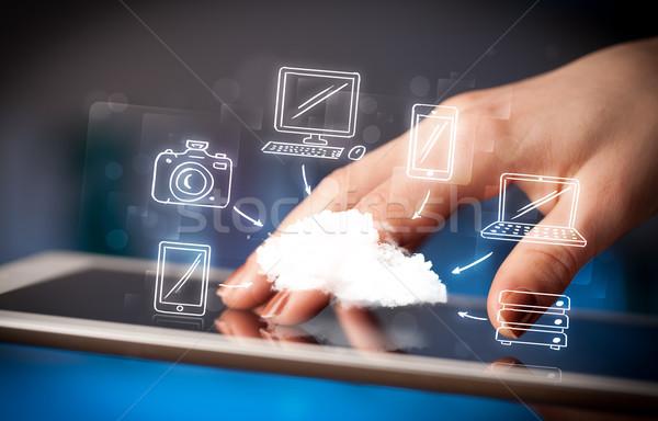 Foto stock: Dedo · indicação · móvel · nuvem · mão