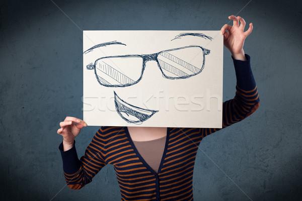 Mulher papel rosto sorridente cabeça mulher jovem Foto stock © ra2studio