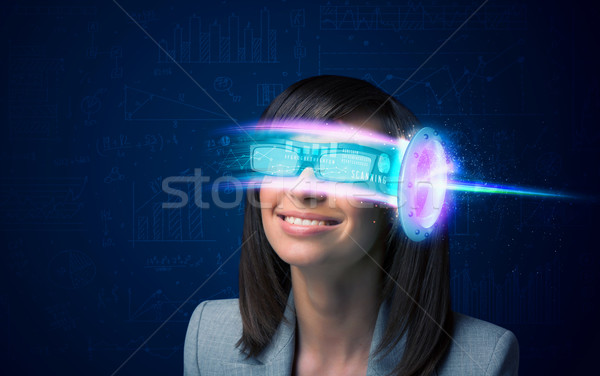 Woman from future with high tech smartphone glasses  Stock photo © ra2studio