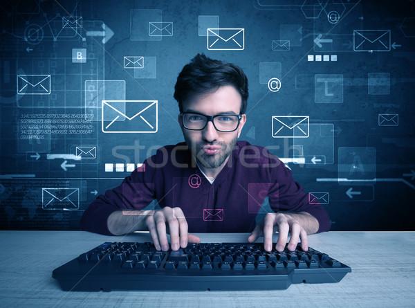 нарушитель электронная почта талантливый молодые хакер Сток-фото © ra2studio