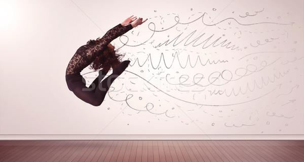 Stok fotoğraf: Güzel · kadın · atlama · hatları · oklar