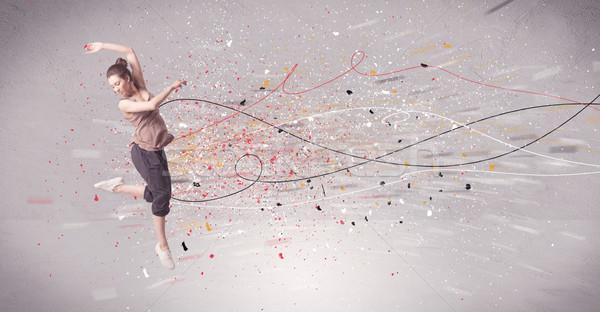 Stedelijke dansen lijnen splatter jonge tijdgenoot Stockfoto © ra2studio