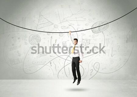 Suspendu affaires corde analyse graphiques main Photo stock © ra2studio