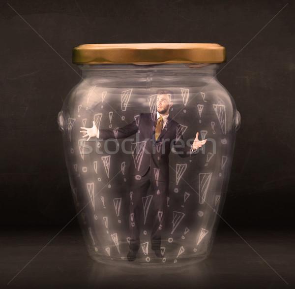 üzletember csapdába esett bögre üzlet munka üveg Stock fotó © ra2studio