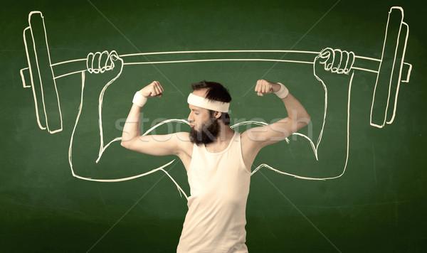 молодым человеком веса борода очки позируют Сток-фото © ra2studio