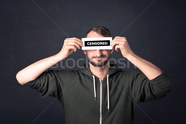 Funny guy with censored sign paper Stock photo © ra2studio