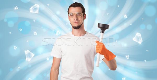 Stockfoto: Blauw · diamant · grafische · schoonmaken · jongen