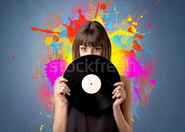 女性 ビニール レコード 小さな グレー ストックフォト © ra2studio