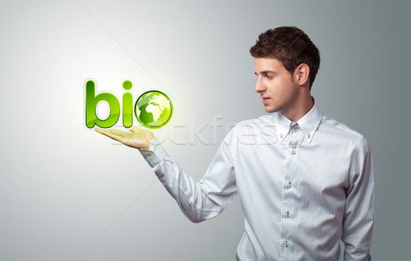 Сток-фото: бизнесмен · виртуальный · Эко · знак · молодые