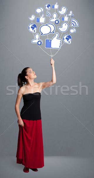 Mooie vrouw sociale icon ballon jonge Stockfoto © ra2studio