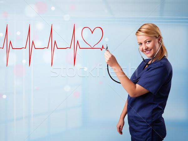 молодые медсестры прослушивании аннотация импульс красный Сток-фото © ra2studio
