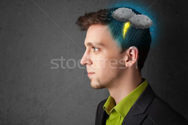 Man onweersbui bliksem hoofd gezondheid regen Stockfoto © ra2studio