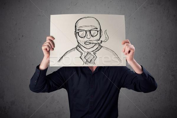 Empresario cartón fumar hombre papel Foto stock © ra2studio