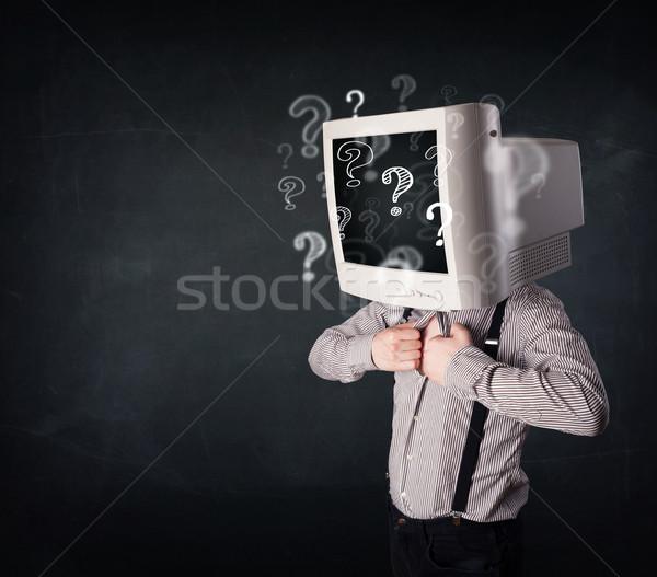 Biznesmen monitor komputerowy głowie znaki zapytania działalności twarz Zdjęcia stock © ra2studio