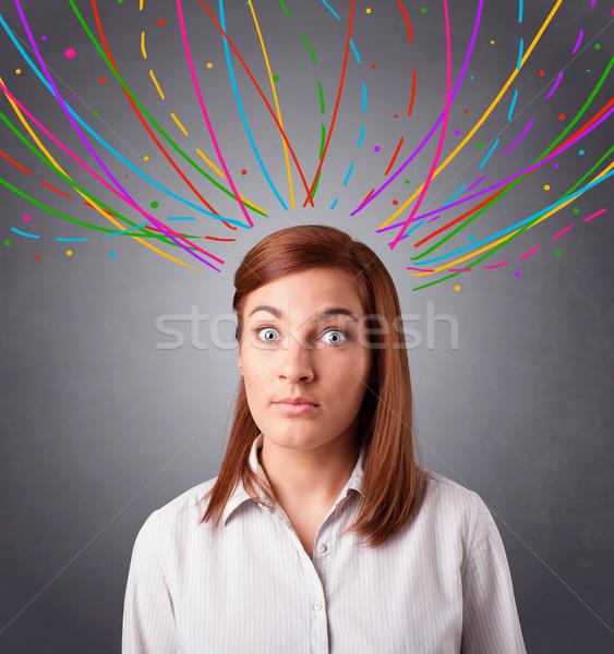 Genç kız düşünme renkli soyut hatları güzel Stok fotoğraf © ra2studio