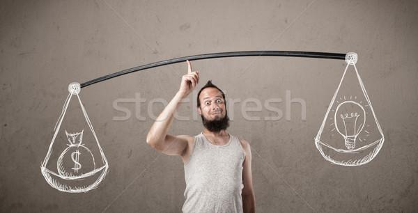 Flaco tipo equilibrado funny dinero hombre Foto stock © ra2studio