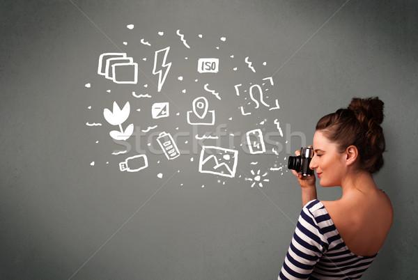 カメラマン 少女 白 写真 アイコン シンボル ストックフォト © ra2studio