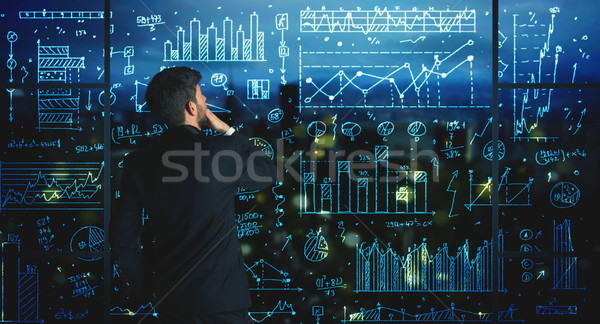 Сток-фото: рисунок · бизнесмен · статистика · бизнеса · стекла · стены