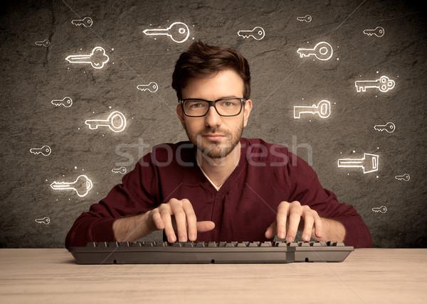 Hacker nerd guy gezeichnet Kennwort Schlüssel Stock foto © ra2studio