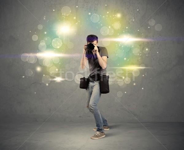 Fotograf światła młodych amator zawodowych Zdjęcia stock © ra2studio