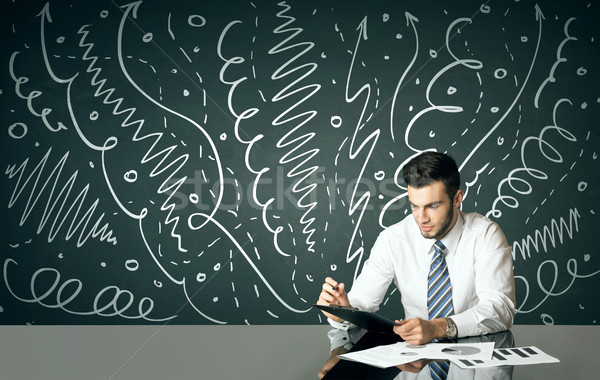 Businessman with curly lines and arrows Stock photo © ra2studio