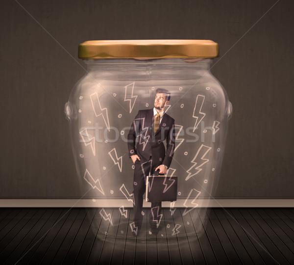 Imprenditore vetro jar fulmini disegni Foto d'archivio © ra2studio