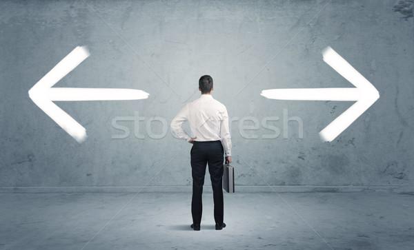 Zavart üzletember választ út üzletember kétség Stock fotó © ra2studio