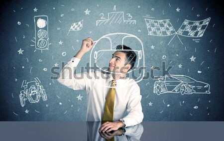 Student gelukkig zakenman vergadering bureau Stockfoto © ra2studio