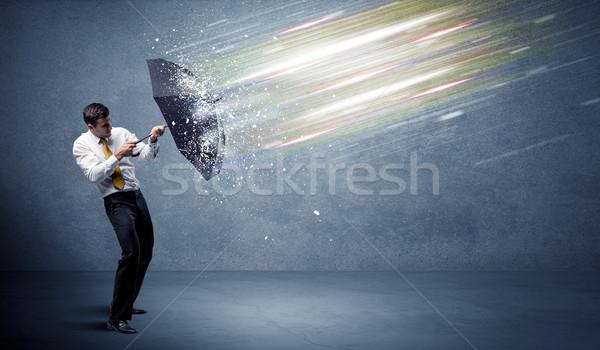 деловой человек свет зонтик бизнеса воды работу Сток-фото © ra2studio
