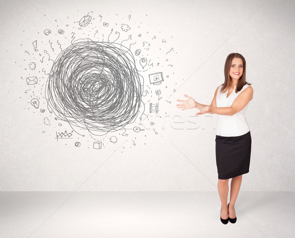 Young business woman with media doodle scribble  Stock photo © ra2studio