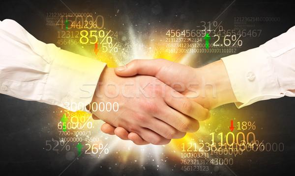 Economía apretón de manos negocios número análisis hombre Foto stock © ra2studio