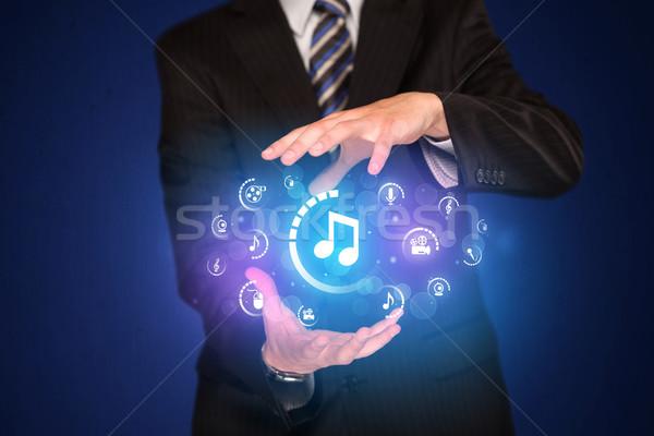 человека цифровой мультимедийные иконки бизнесмен Сток-фото © ra2studio