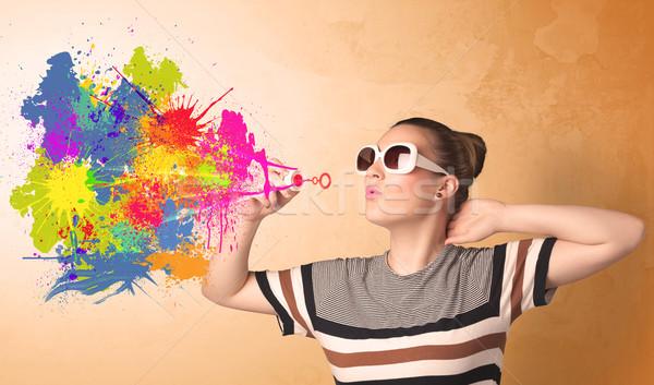 Cute dziewczyna kolorowy splash graffiti Zdjęcia stock © ra2studio