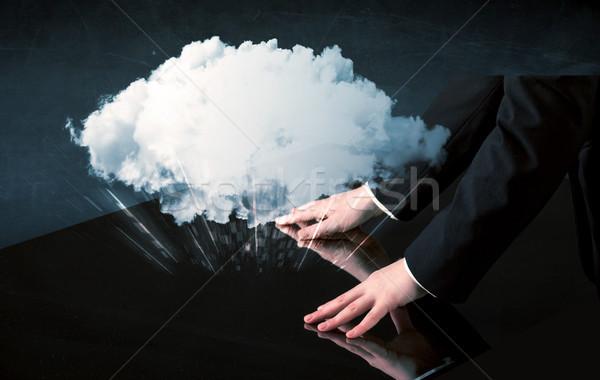 рук прикасаться интерактивный таблице мужчины белый Сток-фото © ra2studio