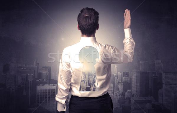 ビジネスマン 立って 前方後円墳 戻る 小さな 思考 ストックフォト © ra2studio