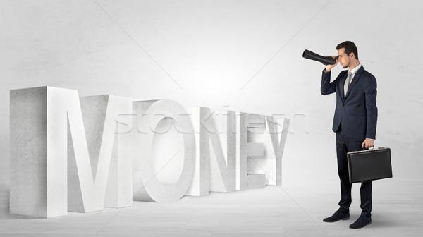 Empresário olhando para a frente binóculo bonito trabalho Foto stock © ra2studio