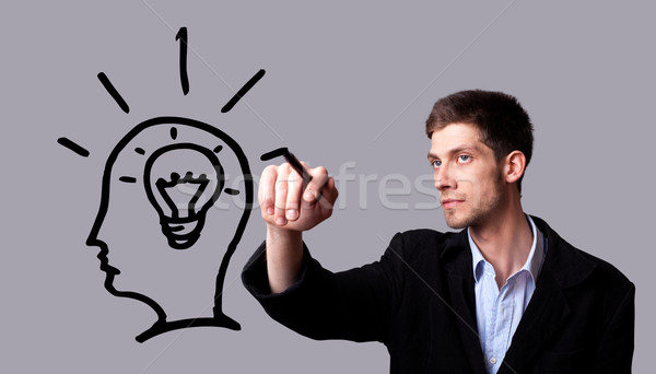 Businessman hand drawing and idea for making money Stock photo © ra2studio