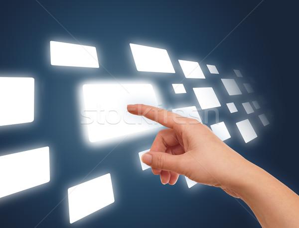 Kéz áramlás néhány gomb futurisztikus digitális technológia Stock fotó © ra2studio