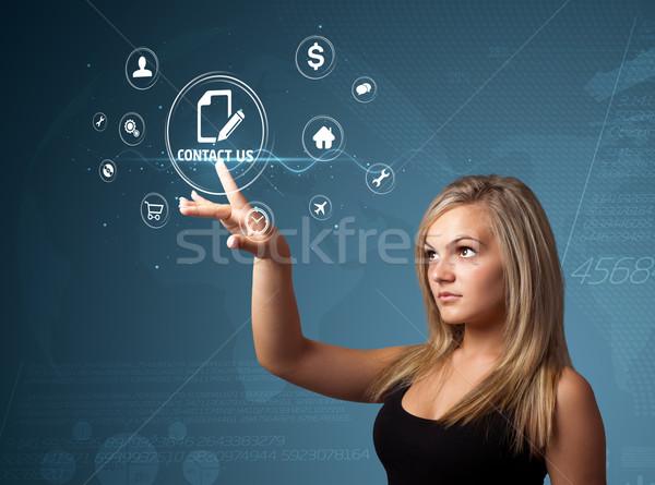 Işkadını sanal mesajlaşma tip simgeler Stok fotoğraf © ra2studio