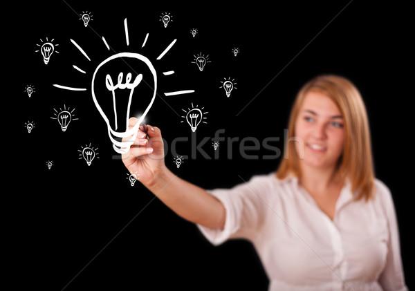 Photo stock: Femme · dessin · ampoule · jeune · femme · affaires