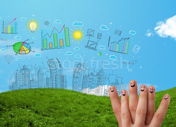 Feliz dedos mirando dibujado a mano urbanas Foto stock © ra2studio