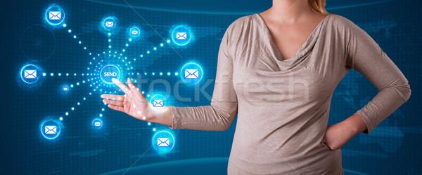 Vrouw virtueel messaging type iconen Stockfoto © ra2studio