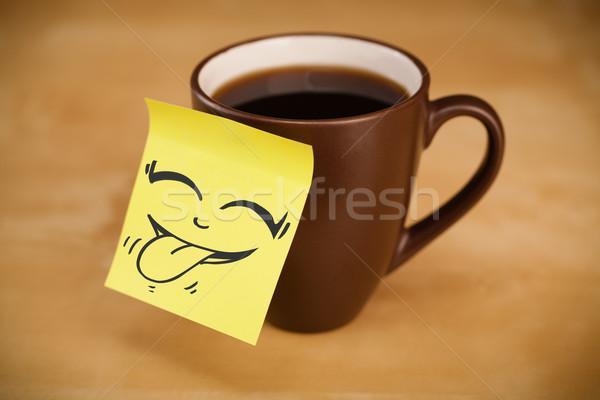 Nota cara sonriente taza oficina papel Foto stock © ra2studio
