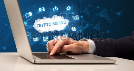 Finger pointing on tablet pc with empty space Stock photo © ra2studio