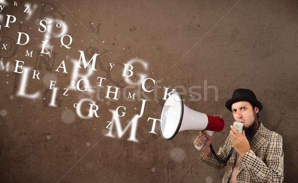 Férfi póló kiált megafon szöveg jött Stock fotó © ra2studio