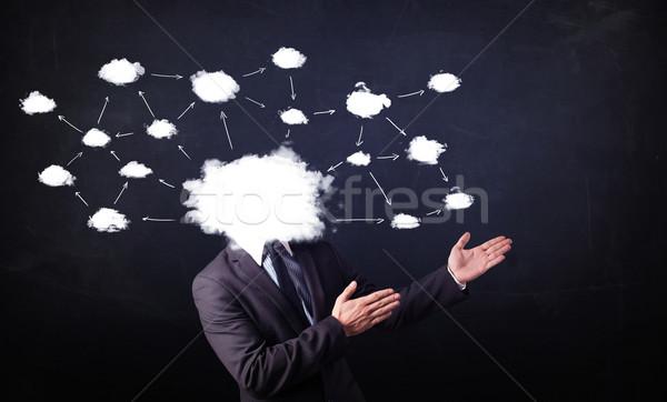 ストックフォト: ビジネスマン · クラウドネットワーク · 頭 · 地図 · 技術